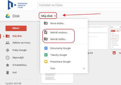 Google Drive/Nahrání souboru – Support